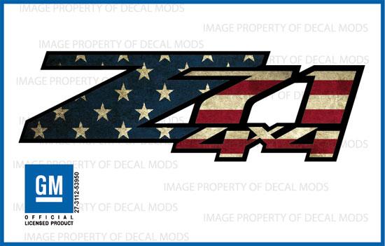 set 2 2018 Sierra Silverado 4x4 Decals Stickers Side American Flag Worn FWFLAG