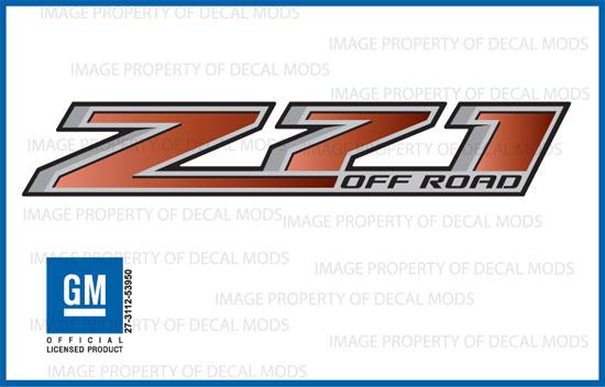 Z71 Off Road Chevy Silverado 14-18 Decals Stickers Fade Red Brick GRBRICK 2