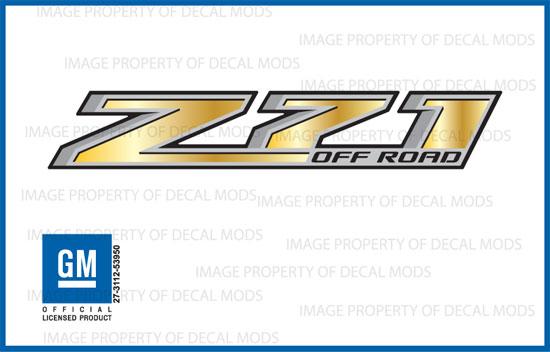 Z71 Off Road Chevy Silverado 2014-2018 Decals Stickers Fade Gold GRGOLD set 2